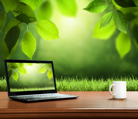 green computing: summer background with wooden table and notebook Stock Photo