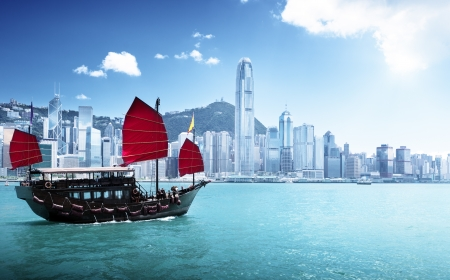 Hong Kong harbour Stockfoto
