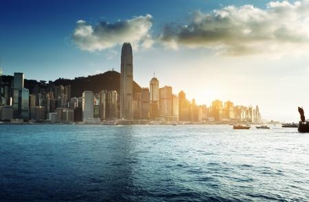 kong: Skyline of Hong Kong  Stock Photo