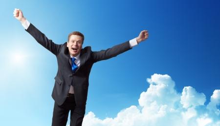 businessman jumping: business man run