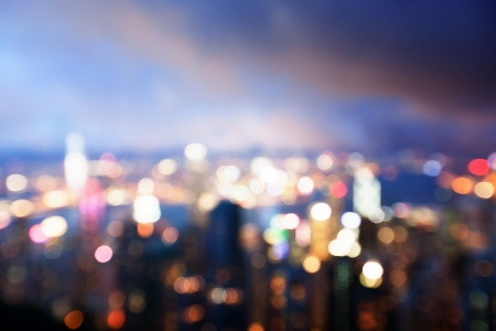 bokeh: blured lighhts from peak Victoria, Hong Kong Stock Photo
