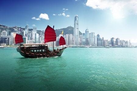 china landscape: Hong Kong harbour Stock Photo