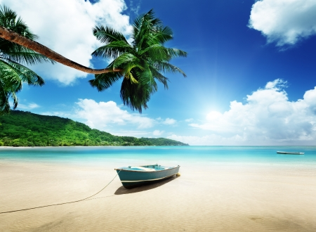 green boat: boat on beach Mahe island, Seychelles