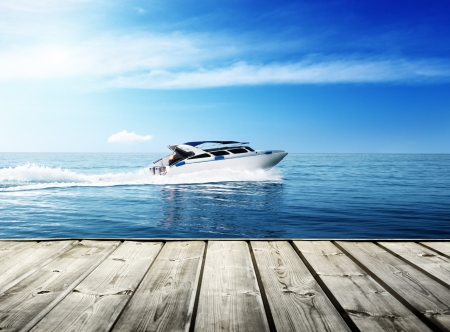power boat: speed boat in tropical sea