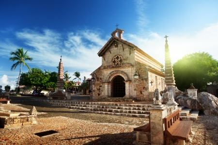 church bells: village Altos de Chavon, Dominican Republic  Stock Photo