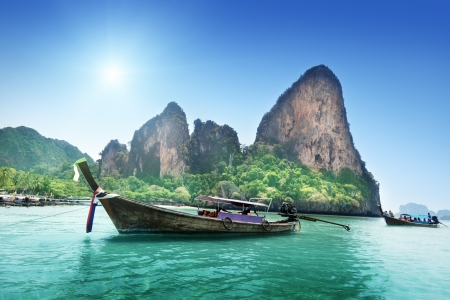 railay: boats on Railay beach in Krabi Thailand