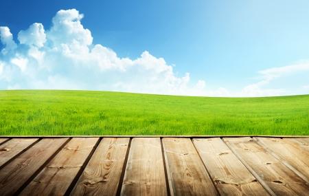緑の草原、木製の床 写真素材
