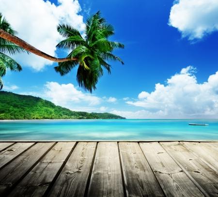 blue lagoon: spiaggia delle Seychelles Archivio Fotografico