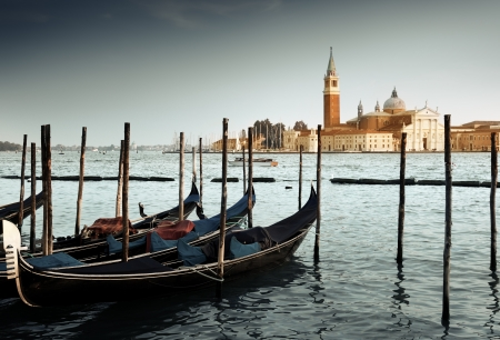 venice italy: Gondolas on Grand Canal and San Giorgio Maggiore church in Venice