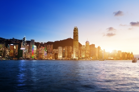 hong kong harbour: Skyline of Hong Kong  Stock Photo