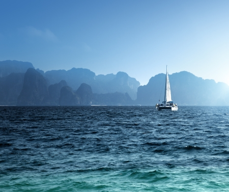 yacht and ocean Krabi province, Thailand Stock Photo - 23486992