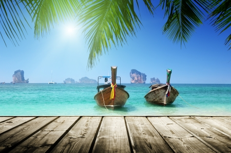 beach,  boats, Andaman Sea, Thailand  photo