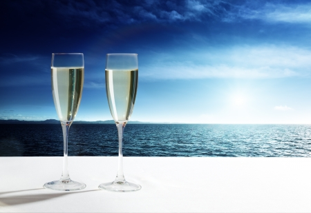 champaign: champaign Glasses and  open ocean Stock Photo