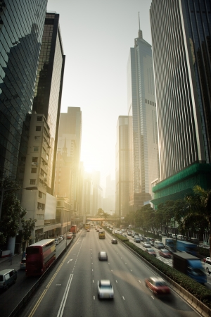 Hong Kong Business District in sunset time photo