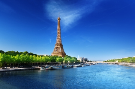 eiffel: Seine in Paris with Eiffel tower in sunrise time  Stock Photo