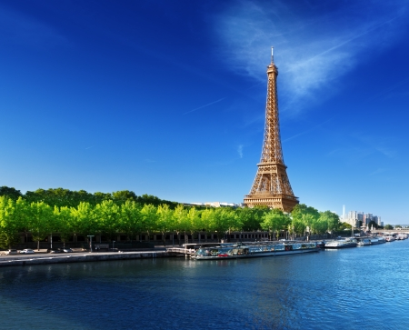 tower: Seine in Paris with Eiffel tower in sunrise time  Stock Photo