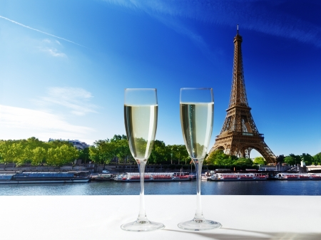 champaign: champaign Glasses and  Eiffel tower in Paris