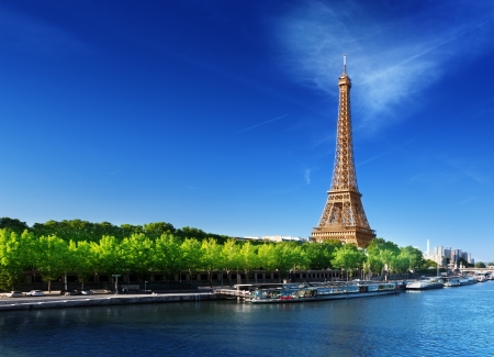eiffel tower: Seine in Paris with Eiffel tower in sunrise time  Stock Photo