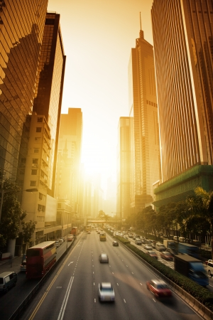 Hong Kong Business District in sunset time Stock Photo - 24879249