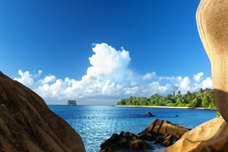 Anse Source d Argent beach, La Digue island, Seyshelles Stock Photo - 25250336