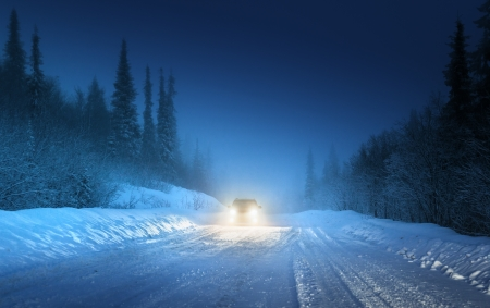 january sunrise: Las luces del coche en invierno bosque ruso
