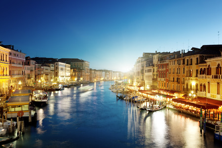 venezia: Grand Canal in Venice, Italy at sunset Stock Photo