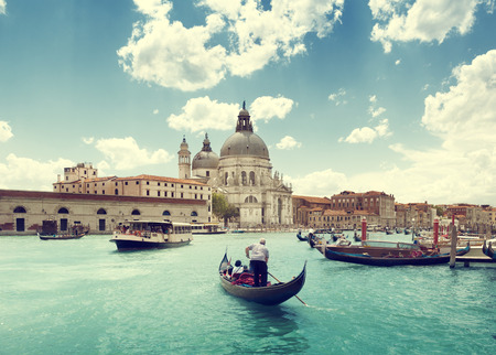 Grand Canal and Basilica Santa Maria della Salute, Venice, Italy and sunny day photo