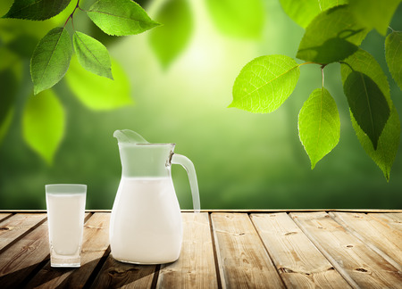 milk on table and sunny trees photo