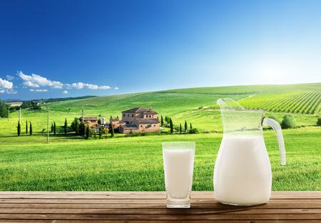 melk en zonnige lente veld Stockfoto