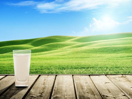 glass milk: lait et champ de printemps ensoleill� Banque d'images