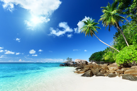 마헤 섬, 세이셸 해변 스톡 콘텐츠