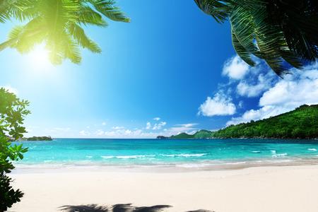 beach Takamaka, Mahe island, Seychelles 版權商用圖片