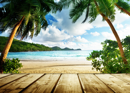 セイシェルのビーチと木製の桟橋 写真素材