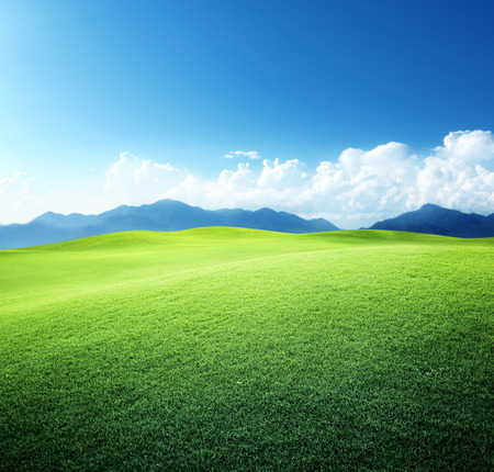 vista: green field and mountains Stock Photo