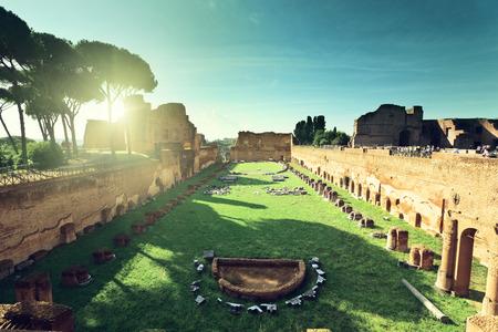 palatine: Ruins of Stadium Domitanus at the Palatine Hill in Rome, Italy