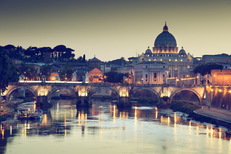 vatican city: view on Tiber and St Peter Basilica in Vatican