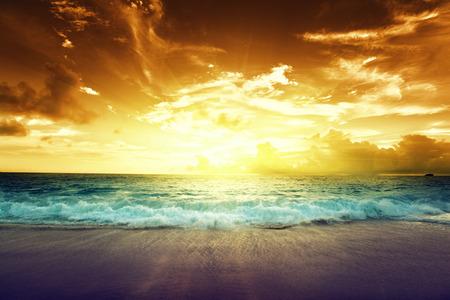 sunset on Seychelles beach