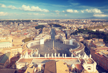 peters: Saint Peters Square in Vatican, Rome, Italy Stock Photo