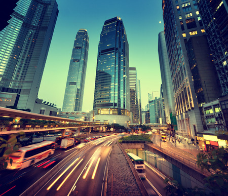 traffic in Hong Kong at sunset time  photo