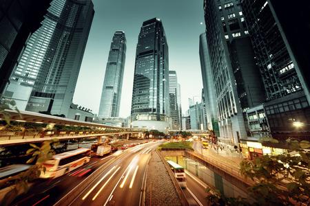 hong kong city: traffic in Hong Kong at sunset time