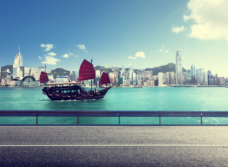 fictional road in Hong Kong harbour photo