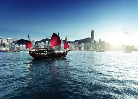 Hong Kong harbour  in sunset time Stock Photo