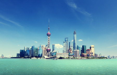 shanghai: Shanghai skyline and sunny day