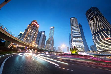 night traffic: night traffic in Shanghai Lujiazui Finance centre