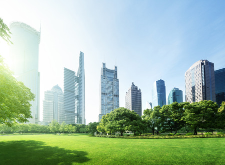 business building: park in  lujiazui financial centre, Shanghai, China Stock Photo