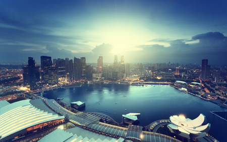 financial district: Singapore city in sunset time