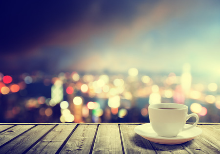 hong kong city: coffee on table in the night city