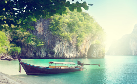 thailand: long boat on island in Thailand