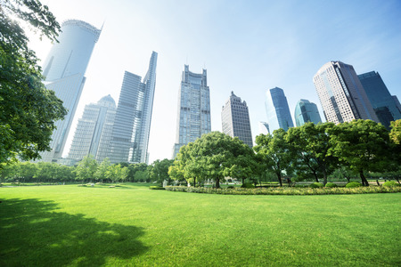 city landscape: park in  lujiazui financial center, Shanghai, China Stock Photo