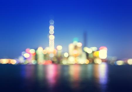 bokeh of Shanghai skyline at night photo